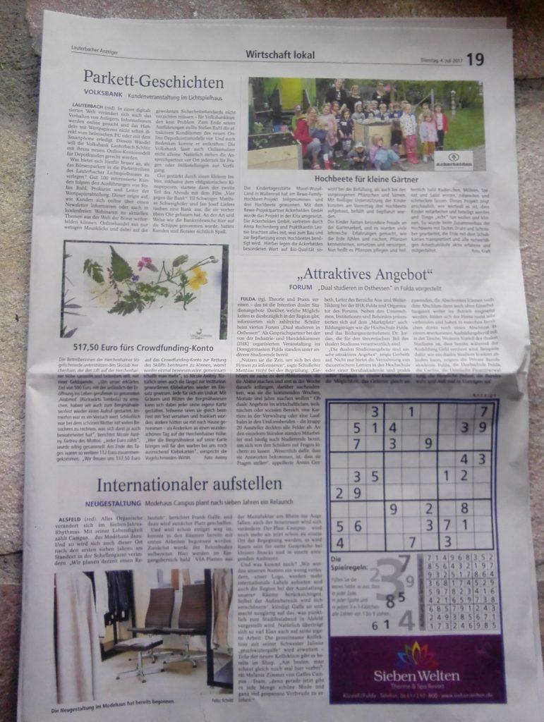 Spende für Skilift, Presseartikel im Lauterbacher Anzeiger vom 4.7.2017. Vielen Dank