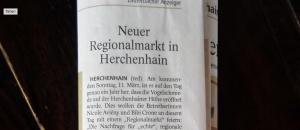 Aussichtsreich Presseartikel zum Mark mit regionalen Waren