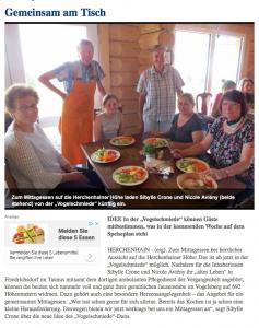 Lauterbacher Anzeiger gemeinsamer Mittagstisch in der Vogelschmiede